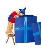 De doos van de Bixverrassing met clown Stock Afbeeldingen