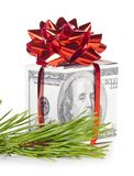 De doos van de gift die van dollars wordt gemaakt Royalty-vrije Stock Afbeeldingen