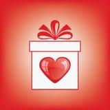 De doos van de gift met een hart. Stock Afbeeldingen