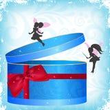 De doos van de gift met feeën Stock Afbeeldingen
