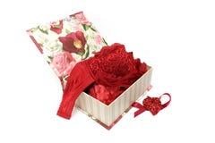 De doos van de gift met het ondergoed van de vrouw Stock Foto
