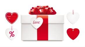 De doos van de gift met rode boog, lint en reeks van hart-sha vector illustratie
