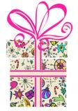 De doos van de gift met vakantiepatroon Stock Foto's