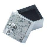 De doos van de gift met zilveren lint Royalty-vrije Stock Afbeelding