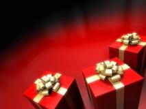 De doos van de gift op rode achtergrond Royalty-vrije Stock Afbeelding