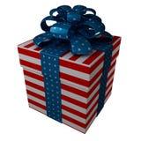 De doos van de gift in stijl van een vlag de V.S. Stock Afbeeldingen