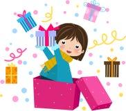 De doos van de Gift van de Holding van het meisje Stock Afbeeldingen