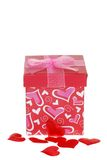De Doos van de Gift van valentijnskaarten met Rode Harten Stock Afbeelding