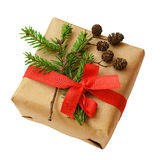 De doos van de Kerstmisgift met lintboog, sparrentakje en kleine kegel Stock Foto