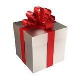 de doos van de metaalgift met rood lint Stock Foto