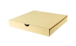 De doos van de pizza op witte achtergrond wordt ge?soleerdd die Stock Foto