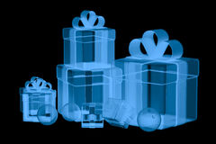De doos van de röntgenstraalgift op zwarte wordt geïsoleerd die Stock Fotografie