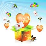 De doos van de valentijnskaart Stock Afbeeldingen