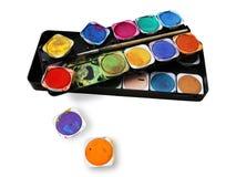 De doos van de verf, met ploetert van verf, multicolored Royalty-vrije Stock Foto's