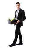 De doos van de zakenmangreep met persoonlijke bezittingen stock fotografie