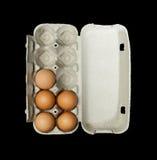 De doos van eieren en aggs binnen Royalty-vrije Stock Foto