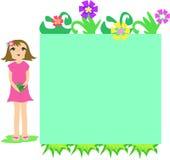 De Doos van het frame van Bloemen en Meisje stock illustratie