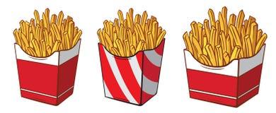 De doos van het inzamelingskarton met frieten overhandigt getrokken schets stock illustratie
