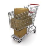 De doos van het karton in het karretje Stock Afbeeldingen