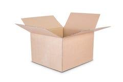 De doos van het karton op witte achtergrond Stock Fotografie