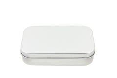 De doos van het metaal die op wit wordt geïsoleerde Stock Afbeelding