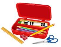 De Doos van het potlood voor School, Huis en Bureau Stock Afbeeldingen
