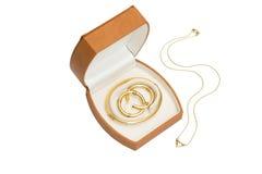De doos van juwelen met halsband Stock Afbeeldingen