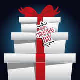 De doos van Kerstmis en rood lint Royalty-vrije Stock Afbeelding