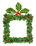 De doos van de Kerstmisgift van Groene die Holly Leaves en Bessen op Witte achtergrond wordt geïsoleerd stock illustratie