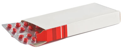De doos van pillen Stock Afbeelding