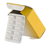 De doos van pillen stock afbeeldingen