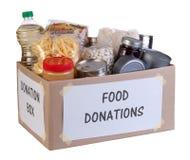 De doos van voedselschenkingen Stock Foto
