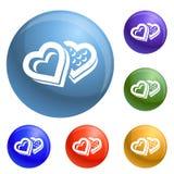 De doospictogrammen van het hartsuikergoed geplaatst vector royalty-vrije illustratie