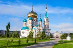 De Dormition-Kathedraal, Omsk Stock Afbeelding