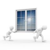 De dos mangos lleve la ventana en el fondo blanco stock de ilustración
