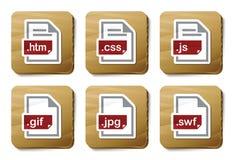 De dossierspictogrammen van het Web | De reeks van het karton Stock Foto