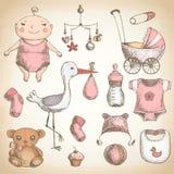 De douche van de baby uitstekende reeks Royalty-vrije Stock Afbeeldingen