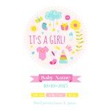 De Douche van het babymeisje of Aankomstkaart Royalty-vrije Stock Fotografie