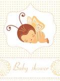 De douchekaart van de baby met baby -baby-butterflygirlslaap Stock Afbeelding