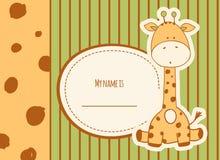 De douchekaart van de baby met giraf Stock Foto