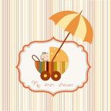 De douchekaart van de baby met kinderwagen Royalty-vrije Stock Afbeeldingen