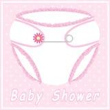 De douchekaart van de baby met nappy Stock Fotografie