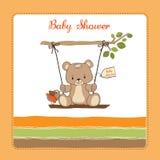 De douchekaart van de baby met teddybeer stock illustratie