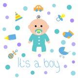 De douchekaart van de babyjongen met fles, paard, rammelaar, fopspeen, sok, autostuk speelgoed, kinderwagen iconset Zijn een jong Royalty-vrije Stock Afbeeldingen
