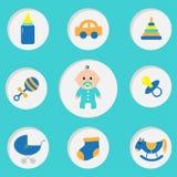 De douchekaart van de babyjongen met fles, paard, rammelaar, fopspeen, sok, autostuk speelgoed, kinderwagen, piramide Zijn een jo Royalty-vrije Stock Foto's