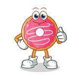 De doughnut beduimelt illustratie van het mascotte omhoog de vectorbeeldverhaal royalty-vrije illustratie