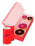 De doughnut en de soda van de beeldverhaalstijl op witte achtergrond Royalty-vrije Stock Afbeelding