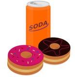 De doughnut en de soda van de beeldverhaalstijl op witte achtergrond Stock Foto's