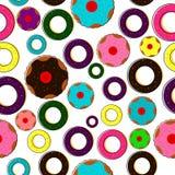 De doughnut van de beeldverhaalstijl en kopcake op witte achtergrond Royalty-vrije Stock Fotografie