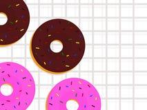 De doughnut van de beeldverhaalstijl met achtergrond Royalty-vrije Stock Afbeeldingen